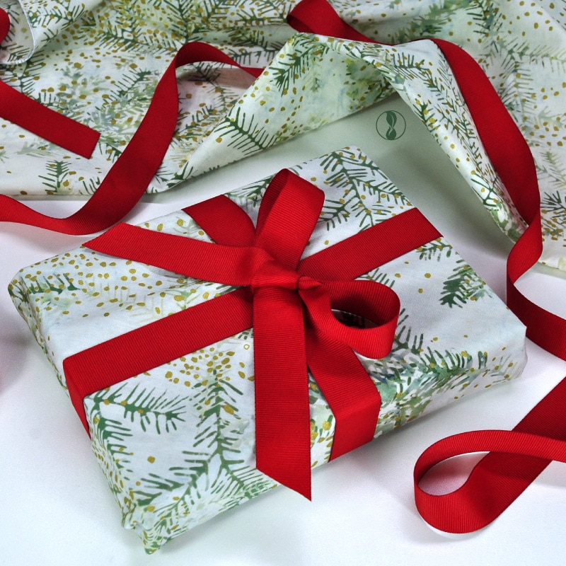 Christmas Boughs Fabric with Red Ribbon
