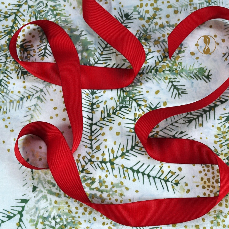 Christmas Boughs with Red Ribbon