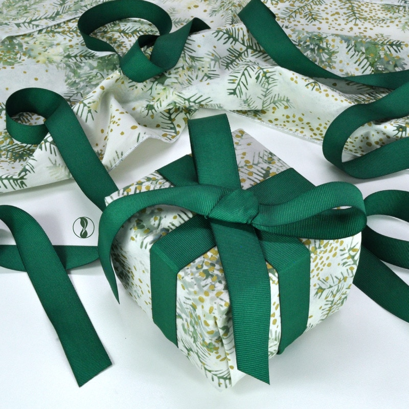 Christmas Boughs with Green Ribbon