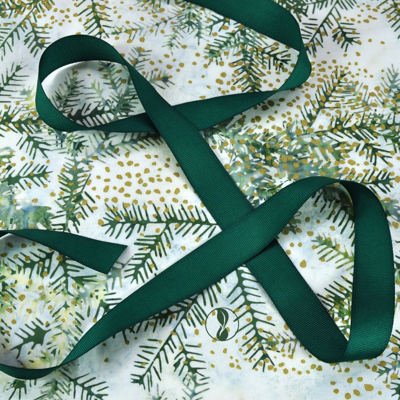 Christmas Boughs Fabric with Green Ribbon