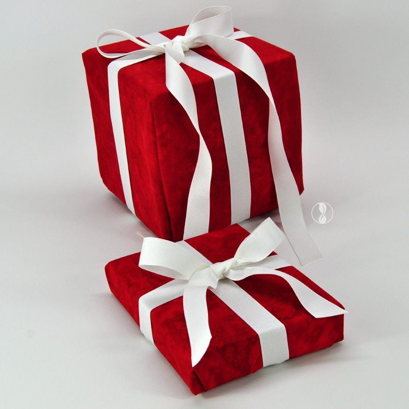 Crimson Red Fabric Gift Wrapping